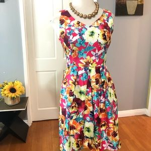 MADISON LEIGH Floral Taffeta (Cockatil) Dress